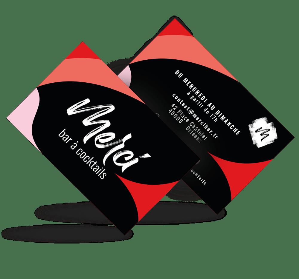 Cartes de visite créée par EKELA pour Merci Bar