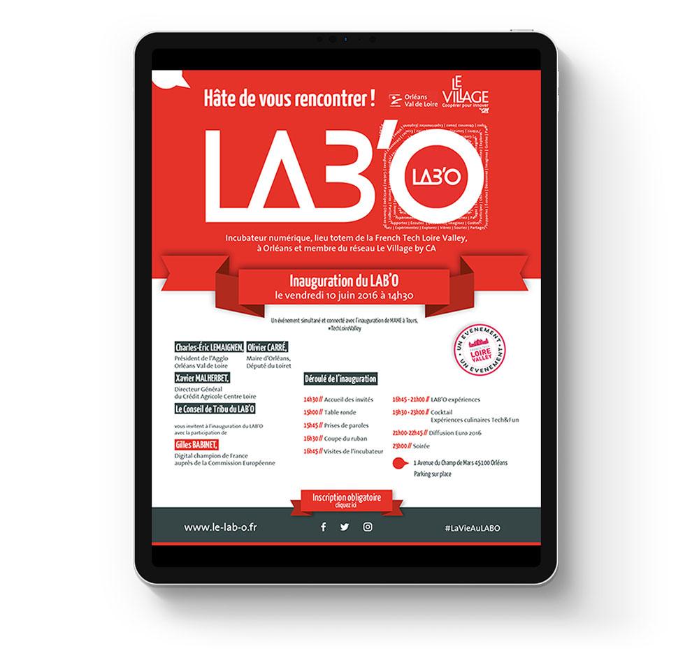 invitation digitale inauguration du LAB'O créée par l'agence EKELA